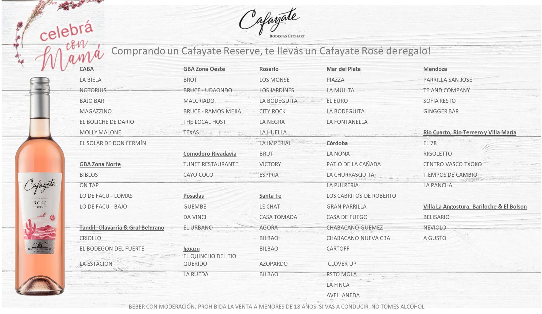 Cafayate Reserve Rosé Bodegas Etchart Dia de la Madre
